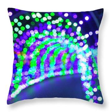 Christmas Lights Decoration Blurred Defocused Bokeh Throw Pillow