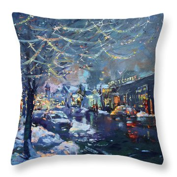 Christmas Lights In Elmwood Ave  Throw Pillow