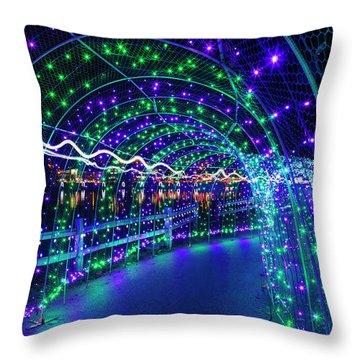 Christmas Lights In Tunnel At Lafarge Lake Throw Pillow