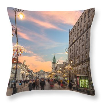 Throw Pillow featuring the photograph Christmas Lights In Warsaw by Julis Simo
