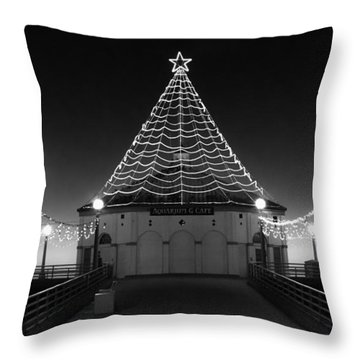 Christmas Lights On Manhattan Pier B And W Throw Pillow
