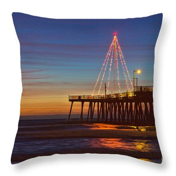 Christmas Lights On The Pismo Pier Throw Pillow