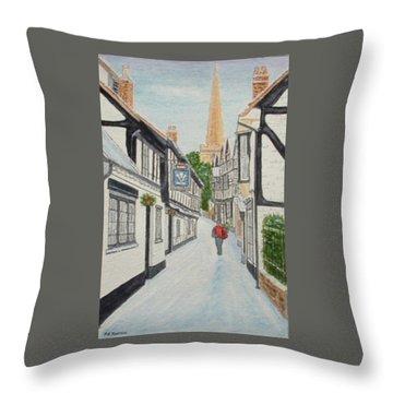 'christmas Mail', Ledbury, Herefordshire Throw Pillow by Peter Farrow