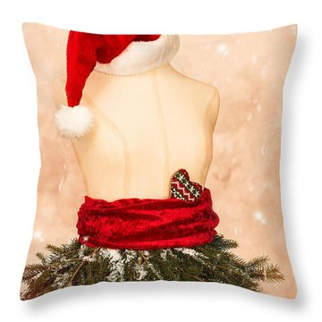 Christmas Mannequin With Santa Hat Throw Pillow