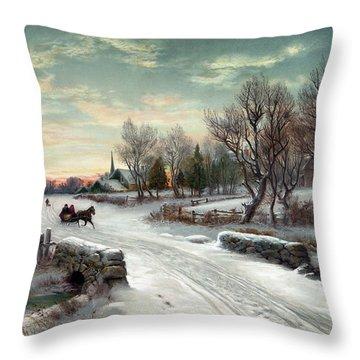 Christmas Morn, C1885 Throw Pillow by Granger