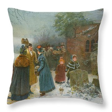 Christmas Morning  Neighbourly Greetings, And Doles To The Poor And Needy Throw Pillow