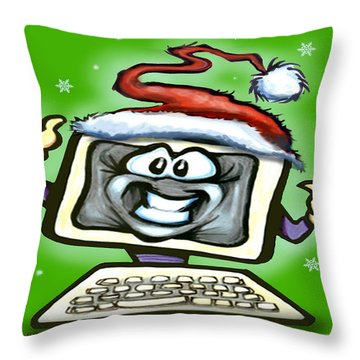 Throw Pillow featuring the digital art Christmas Office Party by Kevin Middleton