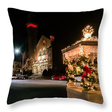 Christmas On Main Street Easthampton Throw Pillow