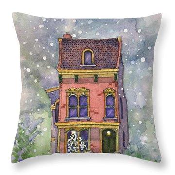 Christmas On North Hill Throw Pillow