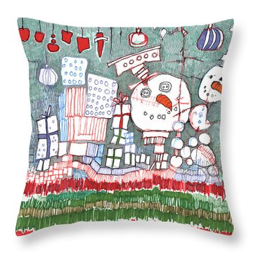 Christmas On The Edge Throw Pillow by Sandra Church