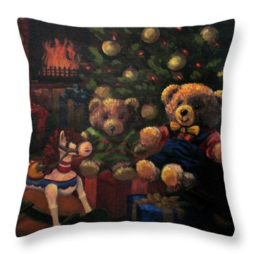 Throw Pillow featuring the painting Christmas Past by Karen Ilari