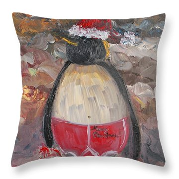 Christmas Penguin Throw Pillow by Nadine Rippelmeyer