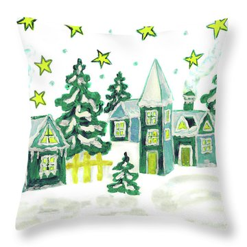 Christmas Picture In Green Throw Pillow
