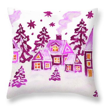Christmas Picture In Pink Colours Throw Pillow