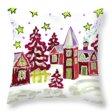 Christmas Picture In Red Throw Pillow