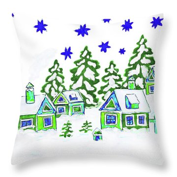 Christmas Picture, Painting Throw Pillow