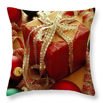 Christmas Present And Ornaments Throw Pillow by Garry Gay