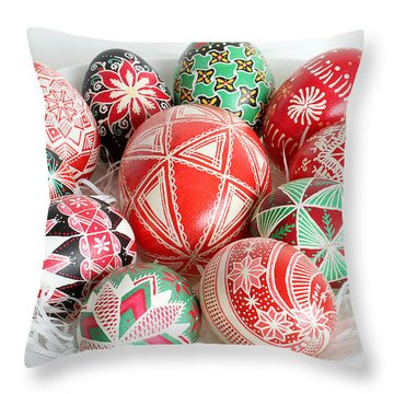 Christmas Pysanky Throw Pillow by E B Schmidt