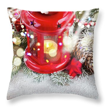 Christmas Red Lantern  Throw Pillow