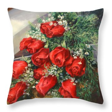 Christmas Red Roses Throw Pillow