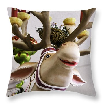 Throw Pillow featuring the photograph Christmas Reindeer Games by Betty Denise