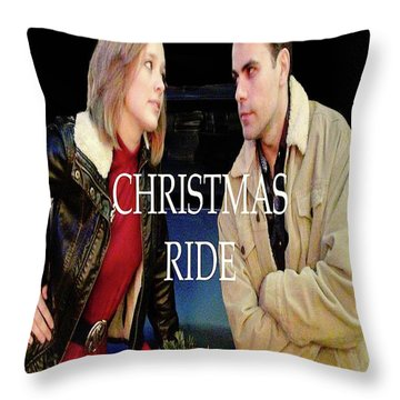 Christmas Ride Poster 16 Throw Pillow by Karen Francis