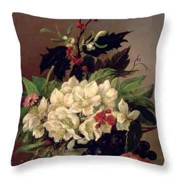 Christmas Roses Throw Pillow by Willem van Leen