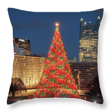 Throw Pillow featuring the photograph Christmas  Season In Pittsburgh  by Emmanuel Panagiotakis