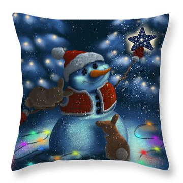 Throw Pillow featuring the painting Christmas Season by Veronica Minozzi