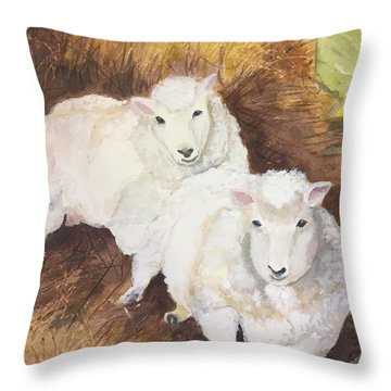 Christmas Sheep Throw Pillow by Lucia Grilletto