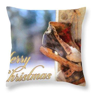 Christmas Skates Throw Pillow