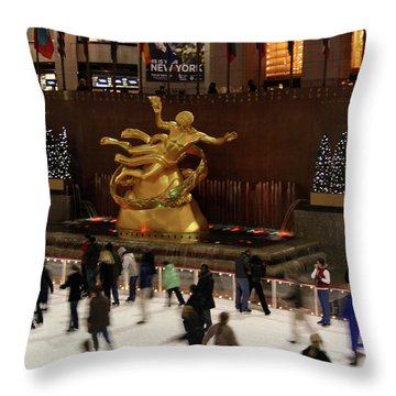 Christmas Skating Ny Style Throw Pillow by Karol Livote