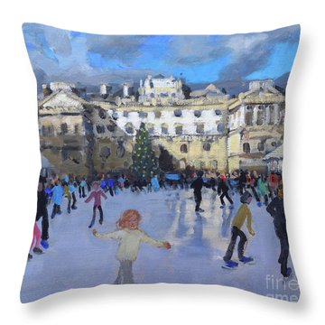 Christmas Skating, Somerset House, Daytime Throw Pillow
