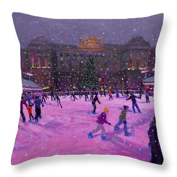 Christmas Skating Somerset House With Pink Lights Throw Pillow