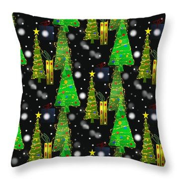 Christmas Snow Fall - Pattern Throw Pillow