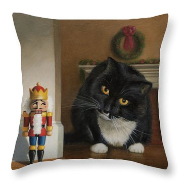 Throw Pillow featuring the painting Christmas Stalking by Joe Winkler