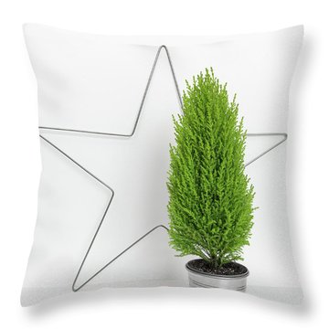 Christmas Star And Little Green Tree Throw Pillow