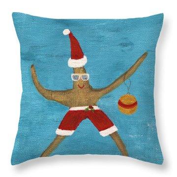 Christmas Starfish Throw Pillow