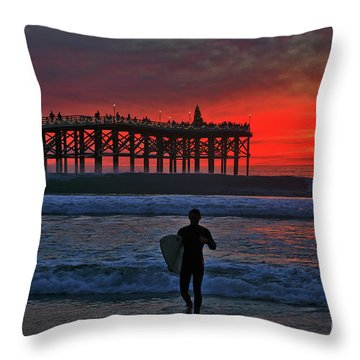 Christmas Surfer Sunset Throw Pillow