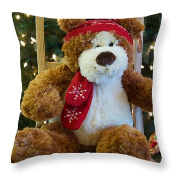 Christmas Teddy Bear Throw Pillow
