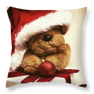 Christmas Teddy Bear Throw Pillow by Wim Lanclus