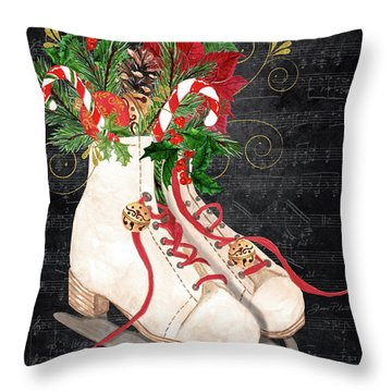 Christmas Time Ice Skates Throw Pillow