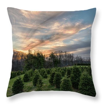 Christmas Tree Farm Sunset Throw Pillow
