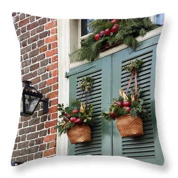 Christmas Welcome Throw Pillow by Sally Weigand