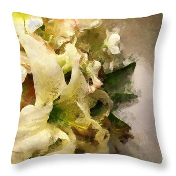 Christmas White Flowers Throw Pillow