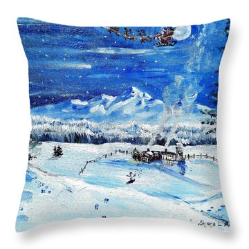 Throw Pillow featuring the painting Christmas Wonderland by Shana Rowe Jackson
