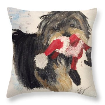 Christmas Yorkie Throw Pillow