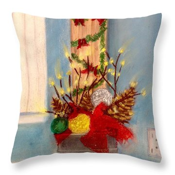 Christmassy Corner  Throw Pillow by Renee Michelle Wenker