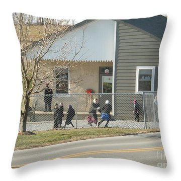 Christmastime At The Schoolhouse Throw Pillow