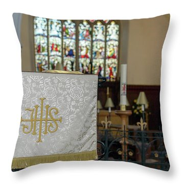 Throw Pillow featuring the photograph Christogram Ihs On Pulpit Cloth In Gothic English Church by Jacek Wojnarowski